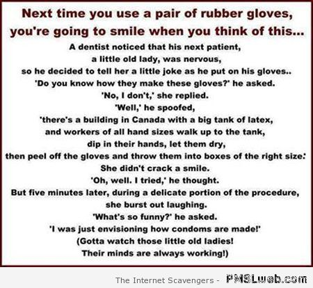 Next time you wear rubber gloves – Friday chuckles at PMSLweb.com