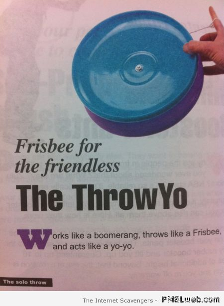 Frisbee for the friendless at PMSLweb.com