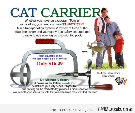 Sarcastic cat carrier at PMSLweb.com