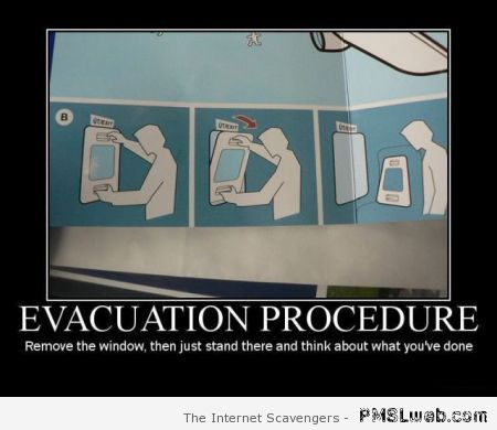 Evacuation procedure humor at PMSLweb.com