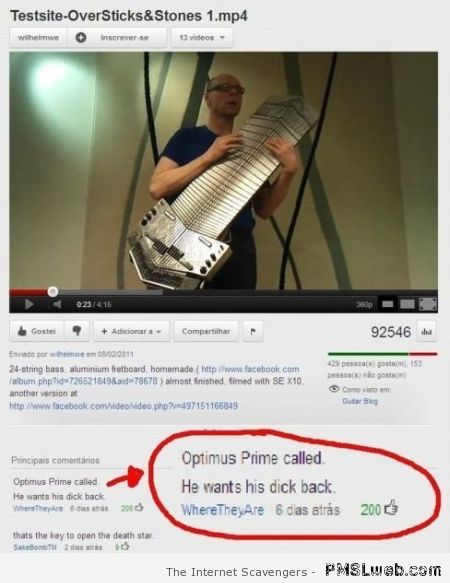 Optimus prime funny Youtube comment at PMSLweb.com