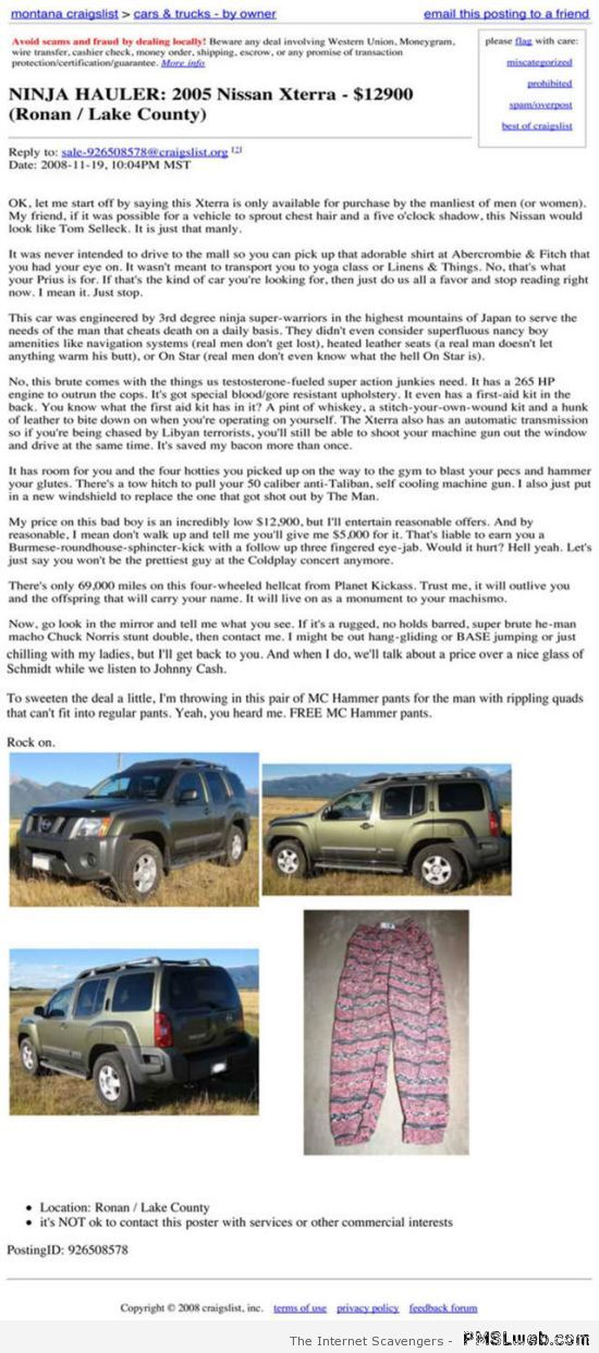 Nissan for sale Craigslist humor at PMSLweb.com