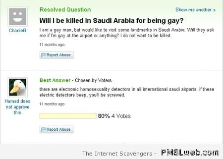 Killed in Saudi Arabia for being gay humor at PMSLweb.com
