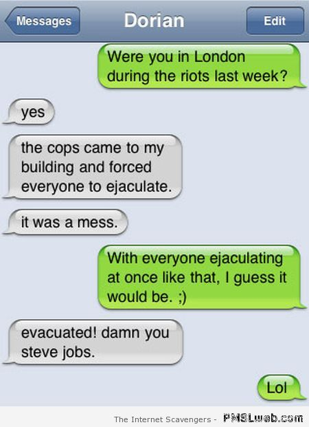London riots funny iPhone autocorrect at PMSLweb.com