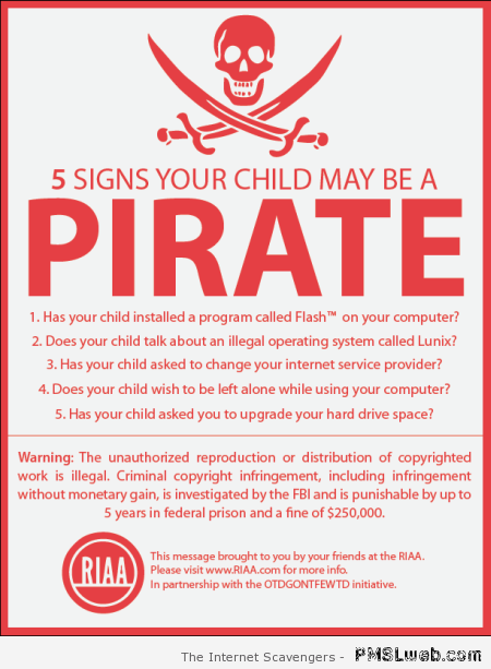 Signs your child could be a pirate at PMSLweb.com
