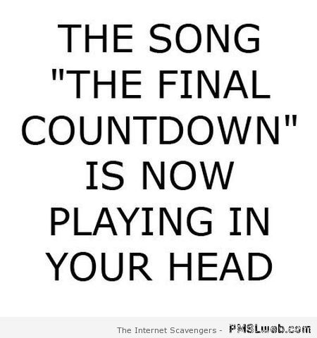 The final countdown song is playing in your head at PMSLweb.com