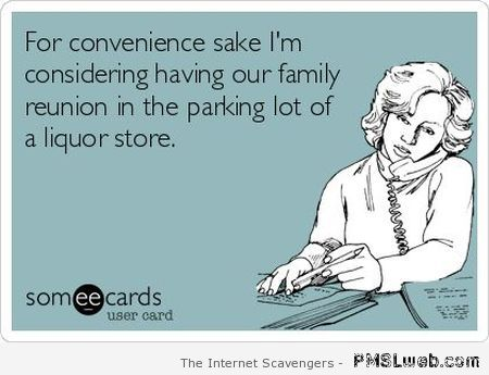 Family reunion in liquor store parking lot at PMSLweb.com