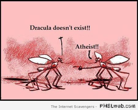 Funny Atheist mosquito cartoon – Silly Thursday at PMSLweb.com