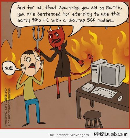 Spammers in hell funny cartoon at PMSLweb.com