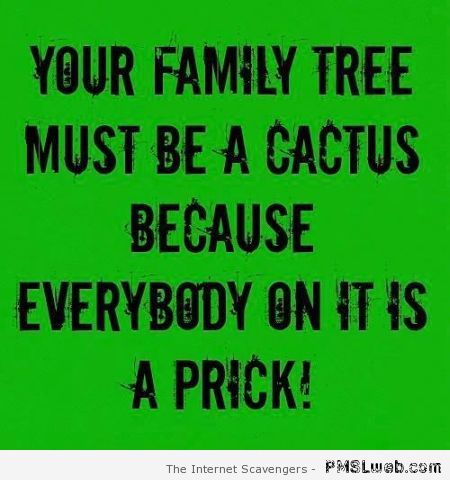 Your family tree must be a cactus funny quote at PMSLweb.com