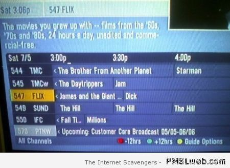 Funny TV program list fail – Reckless Monday at PMSLweb.com