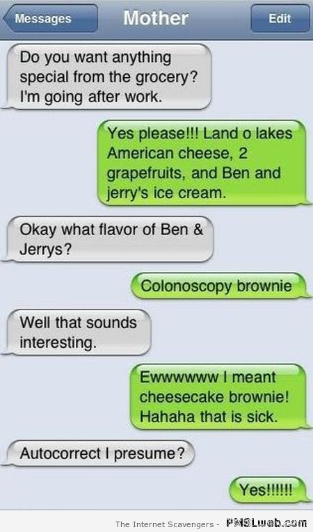 Colonoscopy brownie – Hilarious autocorrect at PMSLweb.com