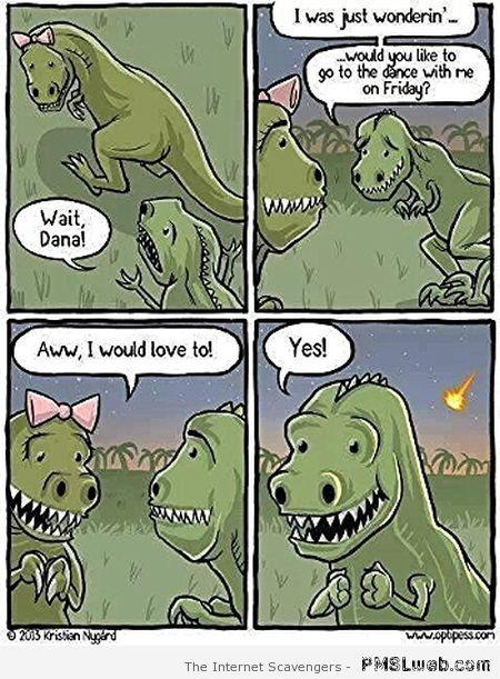 Funny and sad dinosaur cartoon – Funny Sunday pictures at PMSLweb.com