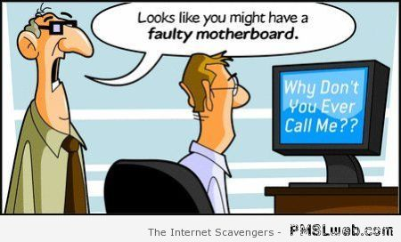 Faulty motherboard funny cartoon  - Computer era funnies at PMSLweb.com