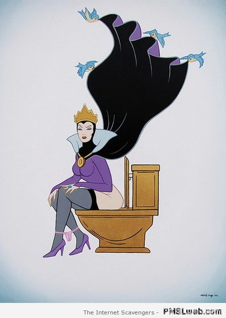 Funny Disney evil queen on her throne at PMSLweb.com