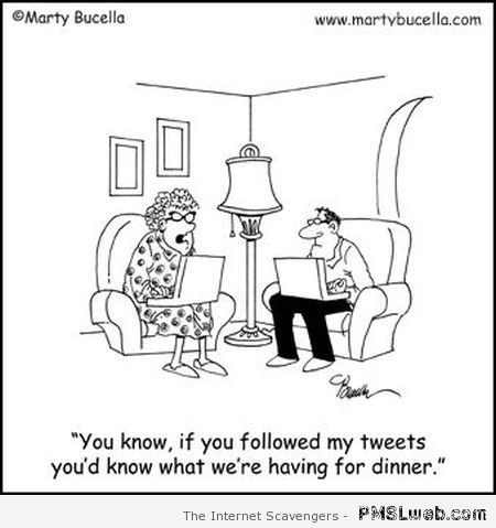 Dinner is on tweeter funny cartoon at PMSLweb.com