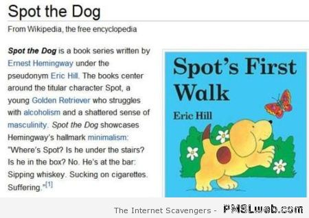 Funny Wikipedia Spot the dog review at PMSLweb.com