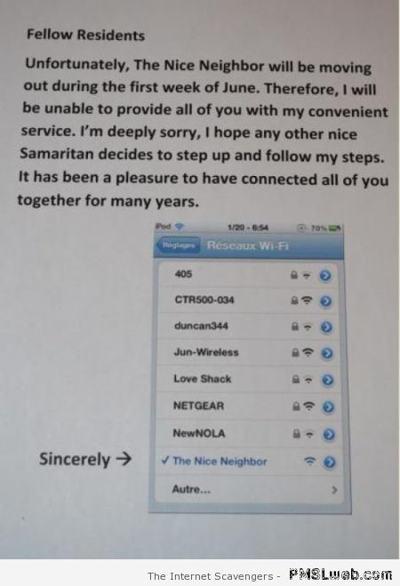 Nice neighbor WIFI funny at PMSLweb.com