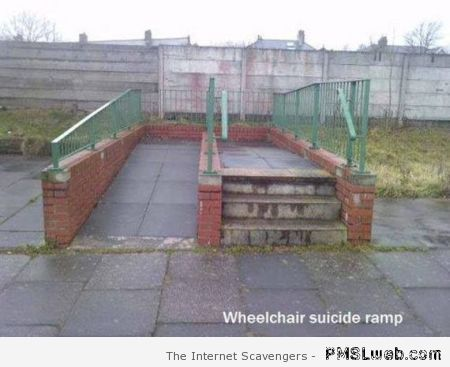 Funny wheelchair suicide ramp at PMSLweb.com
