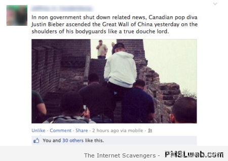 Bieber is a true douche lord at PMSLweb.com