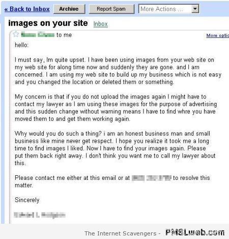 Images on your site funny email at PMSLweb.com