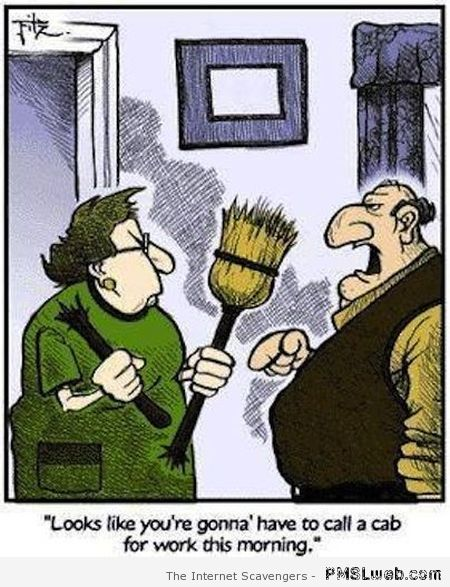 Funny wife broken broom cartoon at PMSLweb.com