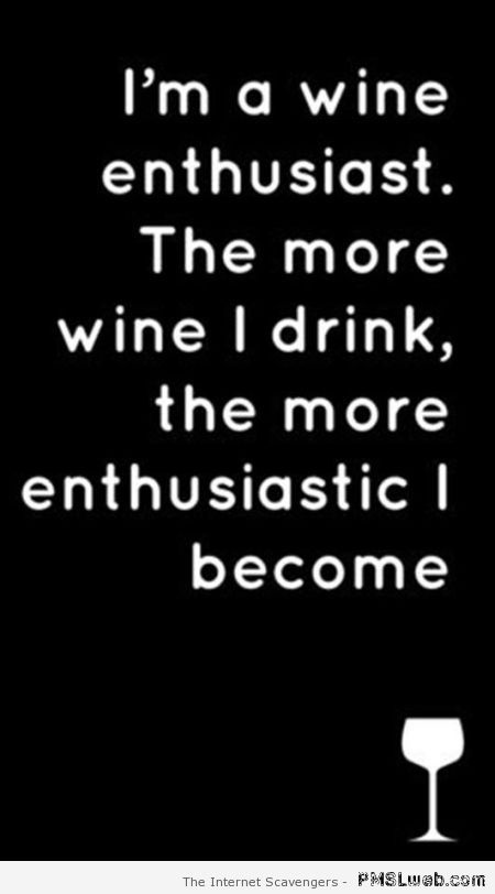 I'm a wine enthusiast funny quote at PMSLweb.com