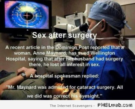 Sex after surgery funny at PMSLweb.com