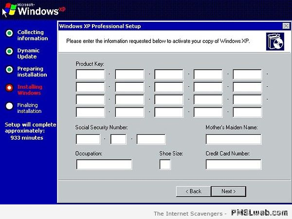 XP installation humor at PMSLweb.com