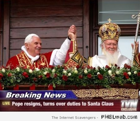 Pope turns over duties to Santa Claus at PMSLweb.com