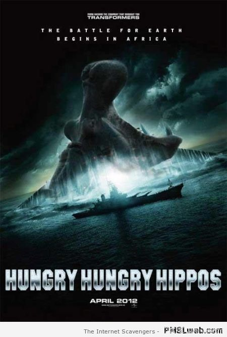 Hungry hippos fake movie poster at PMSLweb.com