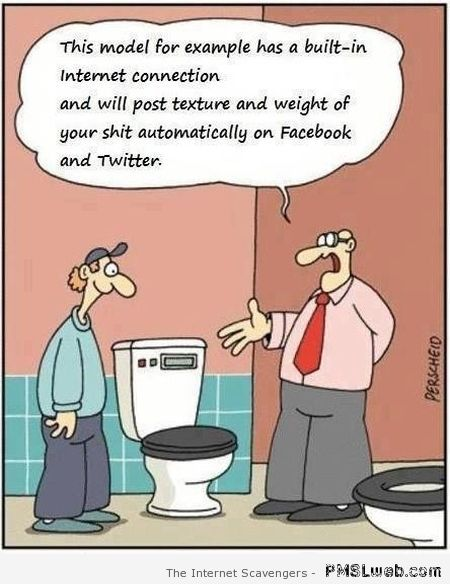 Toilet with built-in internet connection cartoon at PMSLweb.com