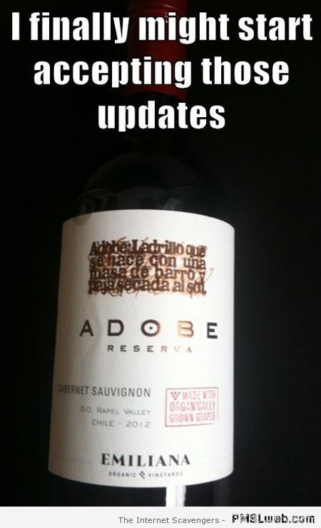 Adobe wine meme at PMSLweb.com