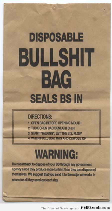 Disposable bullshit bag at PMSLweb.com