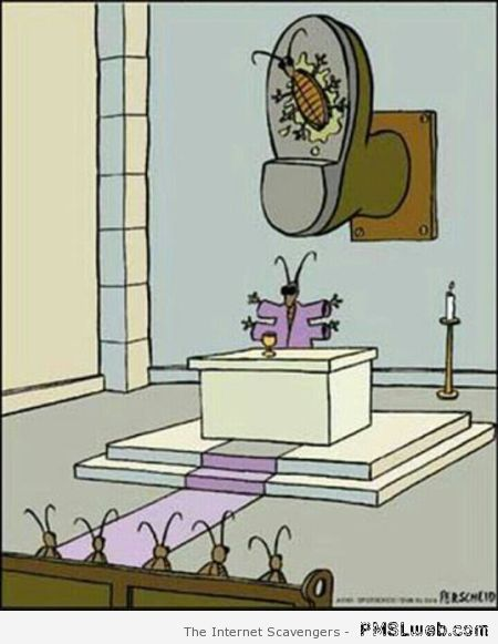 Funny cockroach religion cartoon at PMSLweb.com