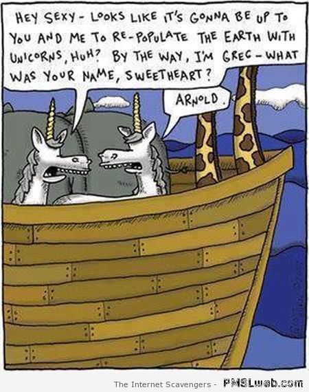 Unicorns in Noah's ark cartoon at PMSLweb.com