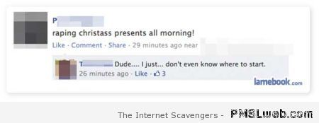 Facebook status typo fail – Happy Monday vibes at PMSLweb.com