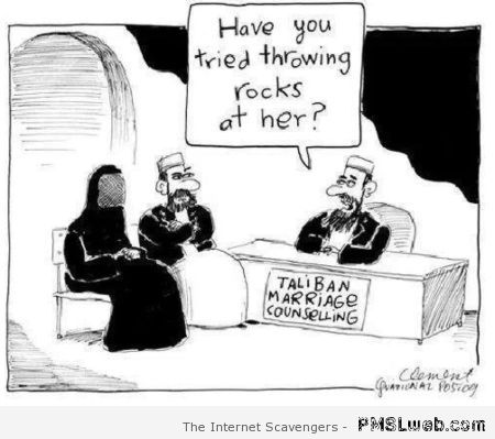 Taliban marriage counseling funny cartoon at PMSLweb.com