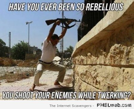 Shoot your enemies while twerking meme at PMSLweb.com