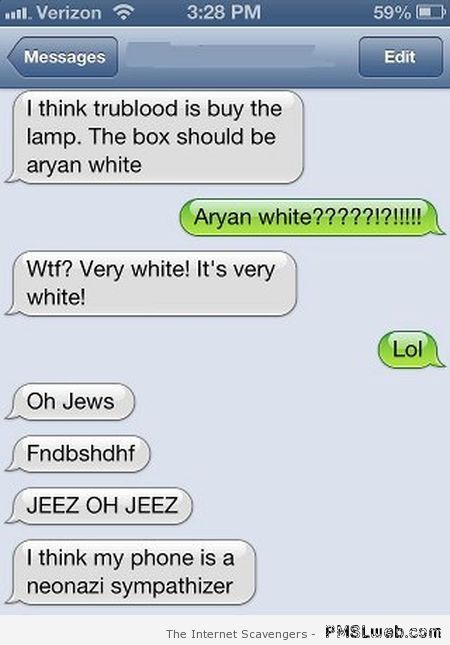 Aryan iPhone funny autocorrect at PMSLweb.com