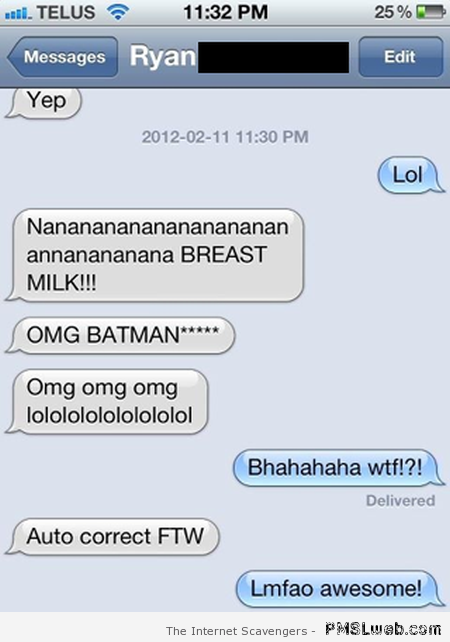 Breast milk funny iPhone autocorrect at PMSLweb.com