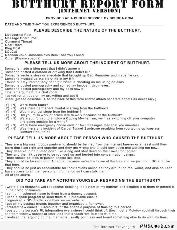 Butthurt report form at PMSLweb.com