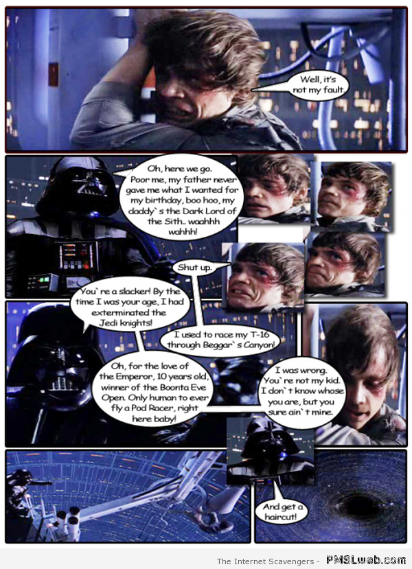Darth Vader parenting humor at PMSLweb.com