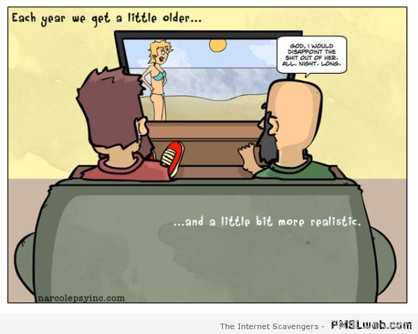 Becoming realistic as you grow old funny cartoon at PMSLweb.com