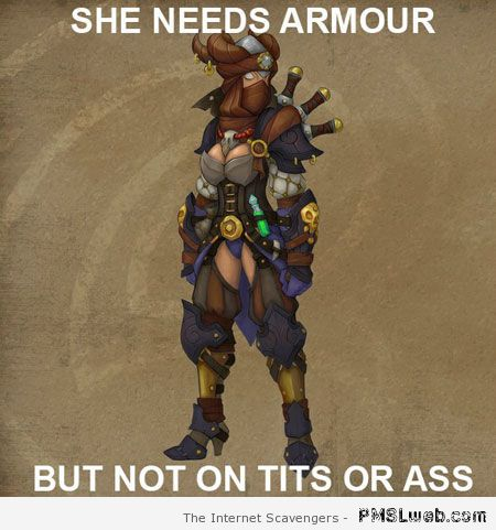 Female character armor logic meme at PMSLweb.com