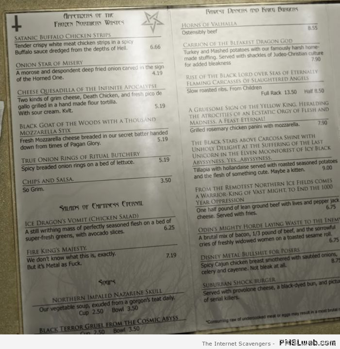 Satanic restaurant menu at PMSLweb.com