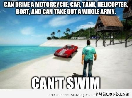 Character can't swim video game meme at PMSLweb.com