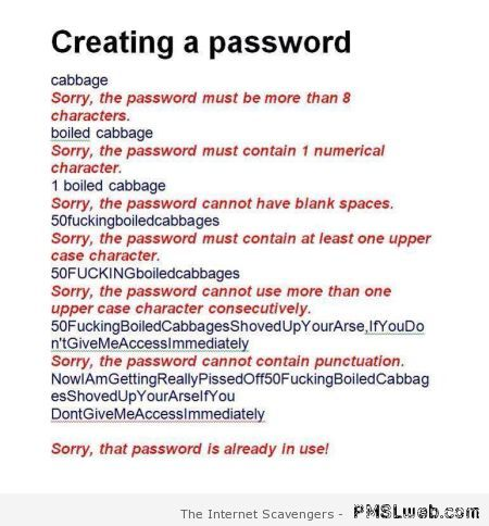 Creating a password humor – Tuesday fun at PMSLweb.com