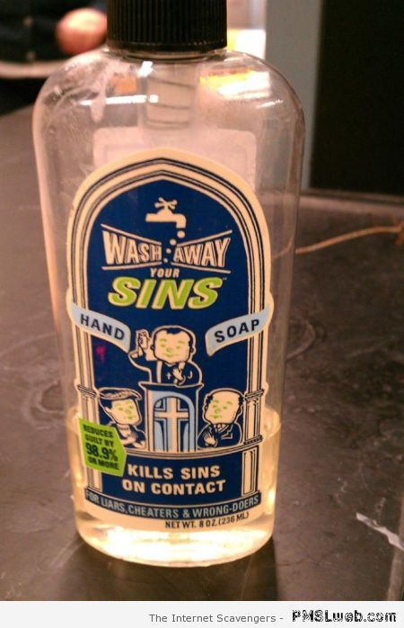 Wash away your sins soap at PMSLweb.com