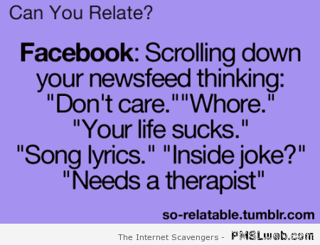Facebook newsfeed funny  at PMSLweb.com